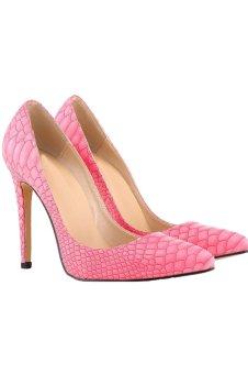 Women's High Heels PU Leather Pointed Toe Stiletto (Rosepink) (Intl)