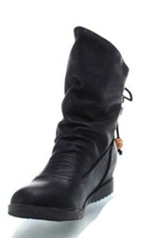 Ankle Short PU Leather Martin Boots (Black) (Intl)