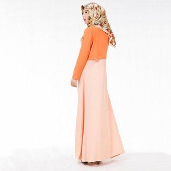 Muslim Women Dress National Clothing Fake Two-piece Hot Selling (Orange) - Intl