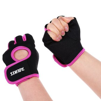 1 Pair Aolikes Fitness Training Weight Lifting Cycling Half Slip-proof Gloves - S (RED) - Intl