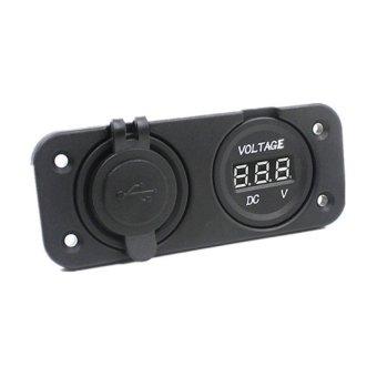 HKS Dual USB mini portable Car Cigarettes Cigarette Lighter Socket 12V Charger Outlet (Black) - Intl
