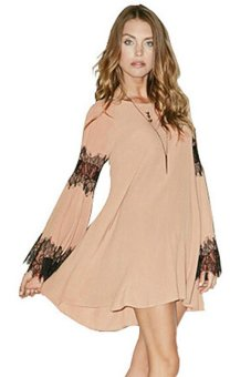 Azone Women's Fashion Long Sleeve O-Neck Sexy Loose Casual Lace Splicing Chiffon Mini Dress Apricot - Intl