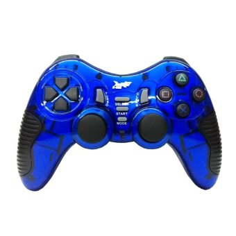 K-One Gamepad stik wireless 2.4G support PS2/PS3/PC/ANDROID TV - Biru