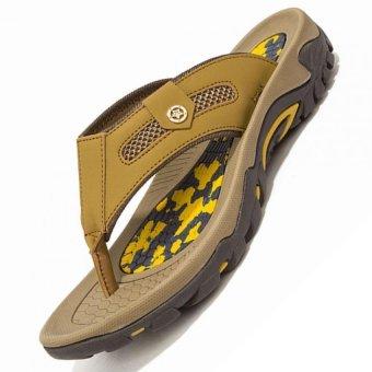 ZHAIZUBULUO Men Summer Beach Shoes Leather Flip Flop Q45 (Khaki)