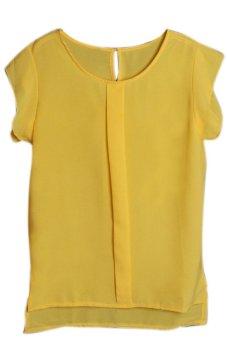 Hequ Flounced Sleeve Office Lady Chiffon Blouse (Yellow)