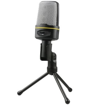 Smooth High Quality Smooth Microphone 3.5 Jack With Holder - Hitam