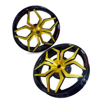 Power Velg Pelek Racing Lebar Scoopy ESP Palang 5 Star Tarantula Hitam Gold