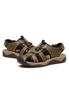 AFS JEEP Men Outdoor Beach Sandals Closed-toe Casual Shoes(Khaki) - Intl