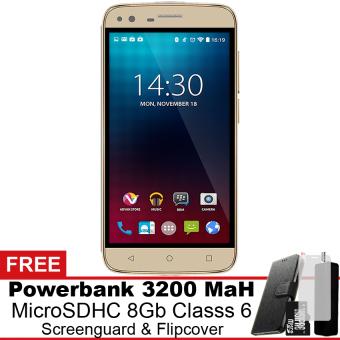 Advan i5 4G LTE - 8 GB - Gold Gratis Powerbank + Micro SDHC 8Gb + Screenguard + Flipcover