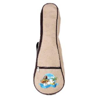 Ukulele Shoulder Bag Carry Case Beige And Hawaii Landscape Pattern Musical Instruments Accessories- Intl