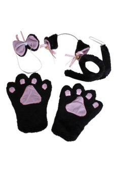 S & F Cat Cosplay Set Paw Claw Gloves Ear Hairclip Tail Bow Tie Costume Black