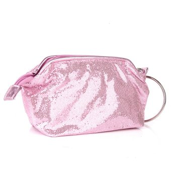 S & F Dazzling Sequins Travel Cosmetic Bag Pink
