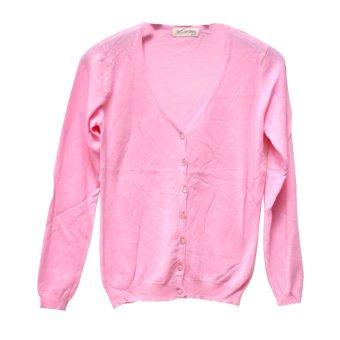 harga Candies Cardigan V Neck Wanita 8928 Pink Susu Lazada.co.id