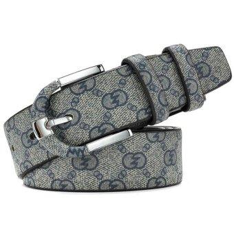 Women's Fashion Plaid Leather Belt 120cm(Export) - Intl