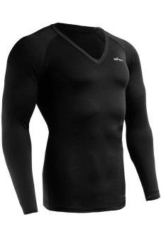 Emfraa Mens Compression Shirts Baselayers Top V-ncek Longsleeve (Black) (EXPORT)