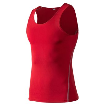 Mens Sleeveless Sports Vest GYM fitness tank tops Quick Dry tight shirt Red - Intl