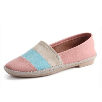 ESSAN New Fashion Women Causal Genuine Leather Loafers Shoes Rainbow Color Flat (Pink)- Intl