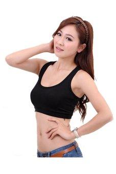 Women's Pure color Modal High elasticity Sports Vest Yoga vest(Black)