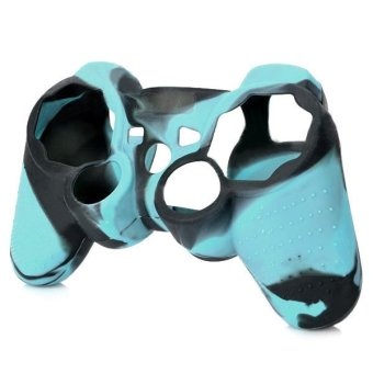 Protective Silicone Cover Case for PS3 / PS2 Controller - Black + Light Blue (Intl)