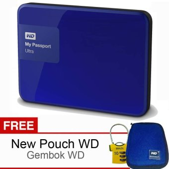 Western Digital My Passport Ultra 1TB Biru Gratis Gembok WD + Pouch WD Original