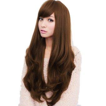 Cyber Women Long Wig Synthetic Hair Wigs Oblique Bangs Long Wavy Artificial Hair