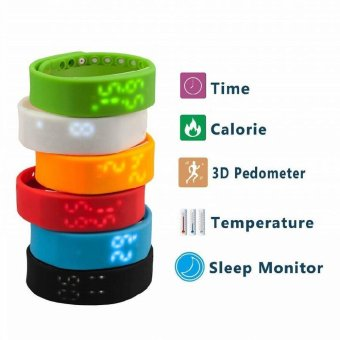 W2 LED Wrist Bracelet Smart Watch With 3D LED Pedometer Sleep Monitoring Temperature Monitoring Time Display Digital Time (Intl)