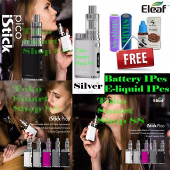 Smart Eleaf Istick Pico Kit 75W mini Full Kits Original + Free Battery & E-Liquid - Silver