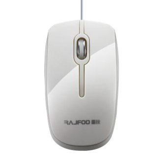 RAJFOO F2 USB Laptop Desktop Optical Wired 1200DPI PC Mouse(White) - Intl