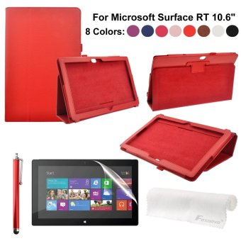 4-in-1 PU Flip Case Screen Guard + Stylus Pen for Microsoft Surface RT 10.6-inch Tablet PC (Red)