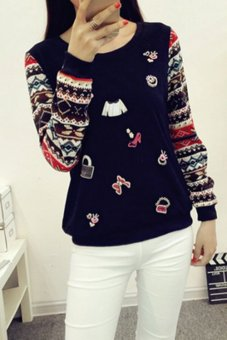 Woman Autumn Winter New Style Long Sleeve Tops T-Shirt(Black) (Intl)