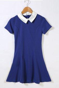 Astar Women Ladies Casual Slim Doll Collar Short Sleeve Patchwork Contrast Color A-Line Short Mini Dress ( Blue ) - Intl