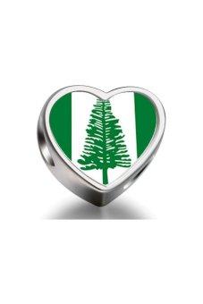 Rare Love Norfolk Island Flag Heart Photo Bead (Silver)