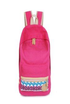 Women Canvas Shoulder School Bag Bookbag Backpack Travel Rucksack Handbag Hot pink
