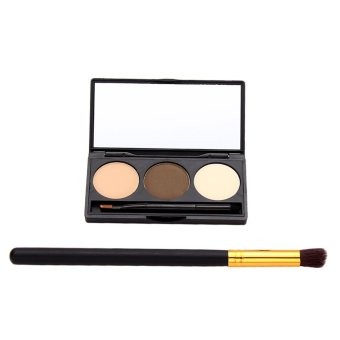 Eyebrow Powder Palette Cosmetic Makeup Shading Mirror + Oblique Head Brush (Intl)