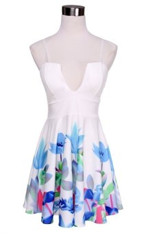 Women's Fashion Deep V Neck Spaghetti Strap Print Backless Mini Pleated Sexy Dress(White) - Intl