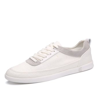 LBW Men Pure Black and White Lace Classic Canvas Shoes(White) - Intl