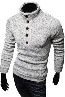 Gracefulvara Fashion Men's Slim Fit Pullover Sweater Coat Turtleneck Knitwear (Grey)