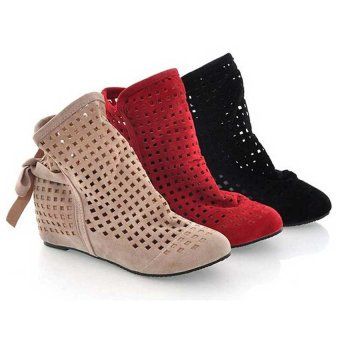 Euro 34~43 Women Boots Hollow Out Perforated Ankle Boot Inner Wedge Woman Shoes(Beige) - INTL