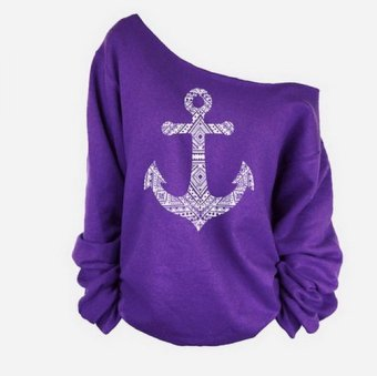 2015 New Trend of Solid Anchor Pattern Exposed Shoulder slim Long Sleeved T-shirt (Purple) (Intl)