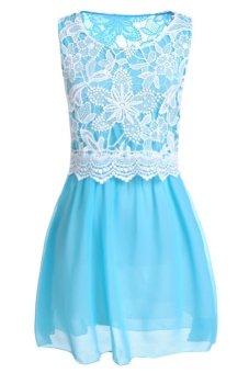 UJS Womens Crew Neck Sleeveless Lace Spliced Chiffon Dress S-XL (Intl)