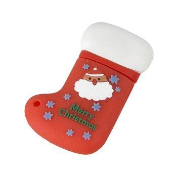 FbscTech Christmas Gift Christmas Sock Shaped 8GB USB 2.0 Flash Memory Stick (Red boot)- Intl