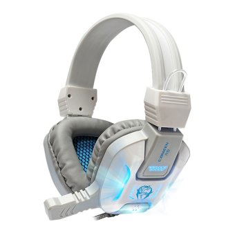 Canleen new R8 Wired 3.5mm plug Headset with a microphone (White/grey,luminescent) - Intl