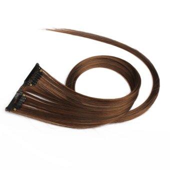 HAOFEI Flax Yellow Clip On Hair Straight Extensions Easytouse Long Elegant - INTL