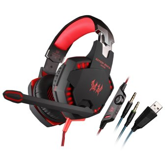 KOTION EACH G2100 Professional 3.5mm LED PC Gaming Bass Stereo Headset with Mic Volume Control HiFi Driver for Laptop Computer (Red) (Intl)