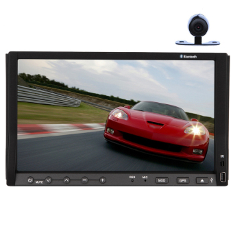 Eincar Double 2 Din In Dash Head Deck 7 Inch Car DVD Player Stereo Radio Mp3 mp4 SD USB am fm RDS Auto Slide Down Large screen Motorized Fold-Down with multi-touch Bluetooth Mic Aux Steering Wheel Control+ HD Rear Camera Included- Intl