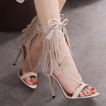 Womens Open Toe High Heel Suede Fashion Sandals with Tassel Checkered Apricot - INTL