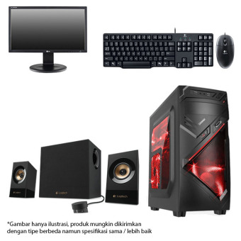 Intel - PC Gaming + Monitor + Keyboard + Speaker - Intel Core i3 4150 - RAM 8 GB - HDD 1 TB - Hitam