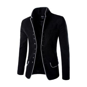 EOZY NEW FASHION Men's Casual Coats Korean Style Male Leisure Stand Collar Cotton Coat Outwear Jacket (Black) (Intl)