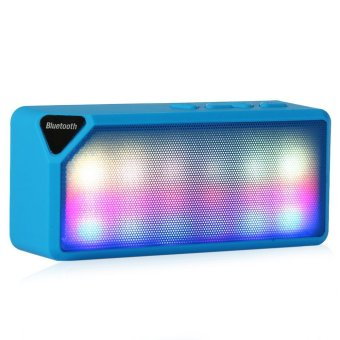 Mini Colorful LED Lights Pulse Wireless Bluetooth 2.0 Speaker Support Handsfree TF AUX FM Radio for Smartphone (Blue) (Intl)