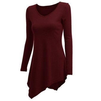 Hequ Women Solid Long Sleeve V-neck Irregular Tops T-shirts (Burgundy) (Intl)